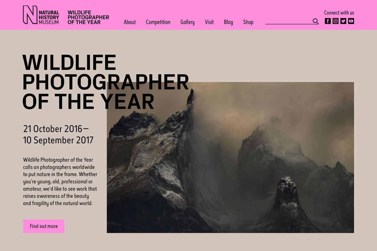 Wildlife Photographer of the Year proposal website, design by Praline